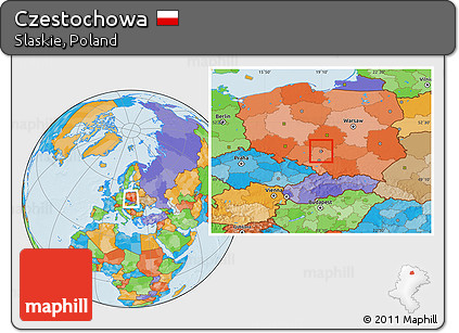 Free Political Location Map of Czestochowa