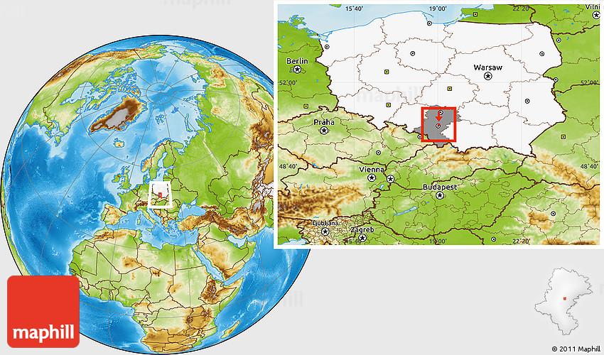 Siemianowice Slaskie Poland  city photo : Physical Location Map of Siemianowice Slaskie, highlighted country ...