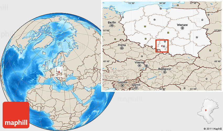 Shaded Relief Location Map Of Zabrze Highlighted Country - Zabrze map