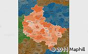 Political Shades Map of Wielkopolskie, darken