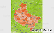 Political Shades Map of Wielkopolskie, physical outside
