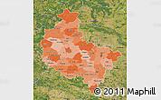 Political Shades Map of Wielkopolskie, satellite outside