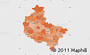 Political Shades Map of Wielkopolskie, single color outside