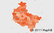 Political Shades Simple Map of Wielkopolskie, single color outside