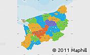 Political Map of Zachodnio-Pomorskie, single color outside