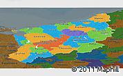 Political Panoramic Map of Zachodnio-Pomorskie, darken