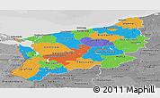 Political Panoramic Map of Zachodnio-Pomorskie, desaturated