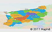 Political Panoramic Map of Zachodnio-Pomorskie, lighten