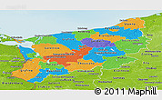 Political Panoramic Map of Zachodnio-Pomorskie, physical outside