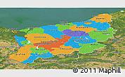 Political Panoramic Map of Zachodnio-Pomorskie, satellite outside