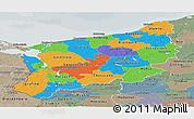 Political Panoramic Map of Zachodnio-Pomorskie, semi-desaturated