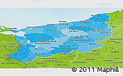 Political Shades Panoramic Map of Zachodnio-Pomorskie, physical outside