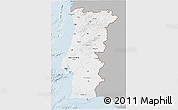 Gray 3D Map of Portugal, single color outside