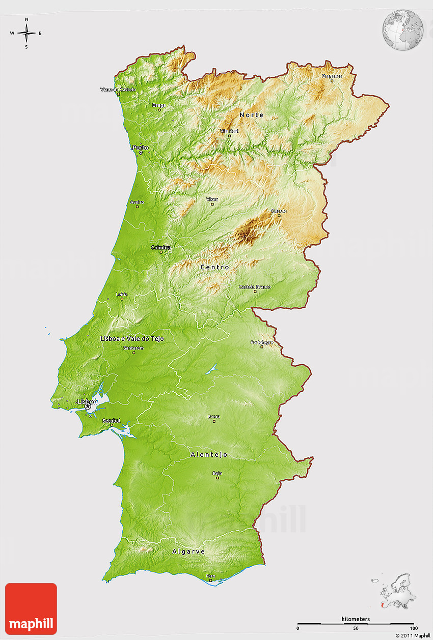 Physical D Map Of Portugal Cropped Outside - Portugal physical map