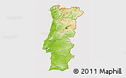 Physical 3D Map of Portugal, cropped outside
