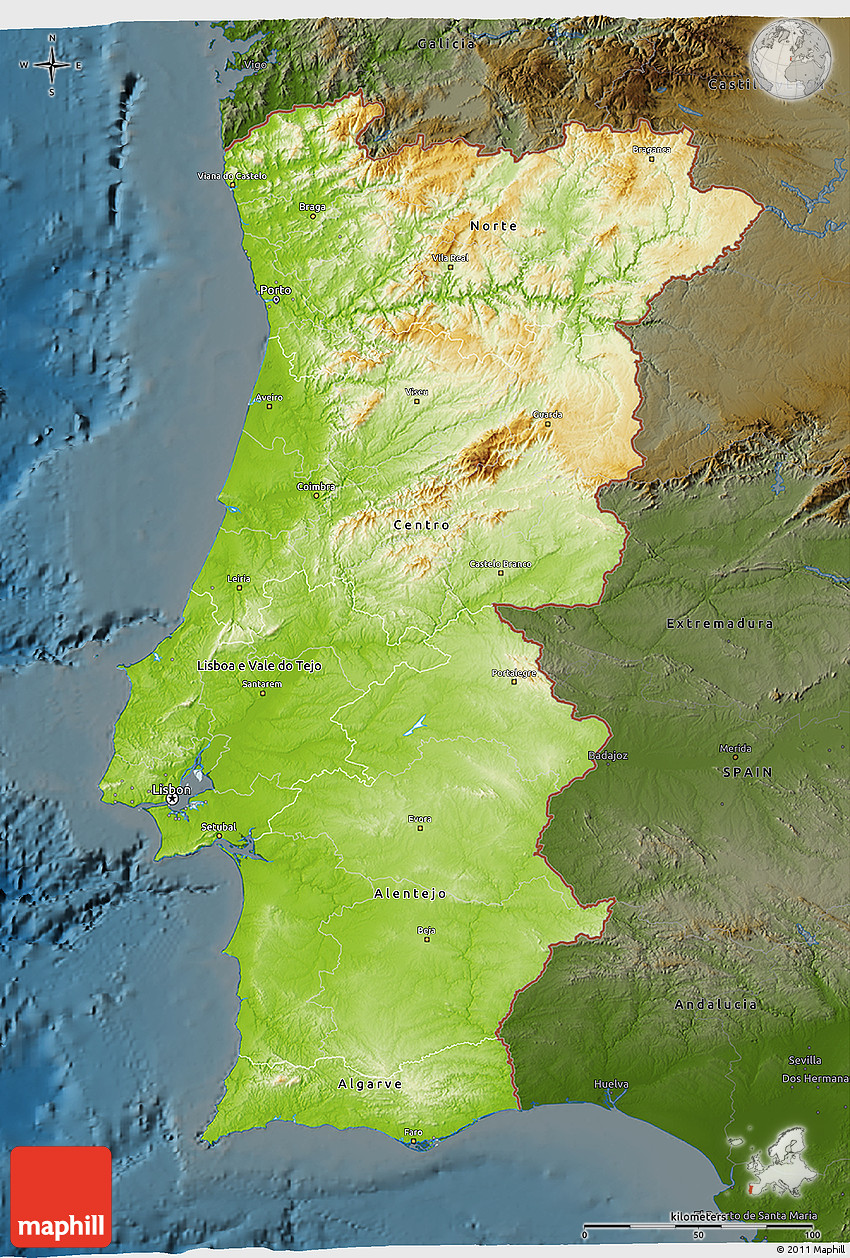 Physical D Map Of Portugal Darken - Portugal norte map