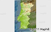 Physical 3D Map of Portugal, darken
