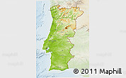 Physical 3D Map of Portugal, lighten