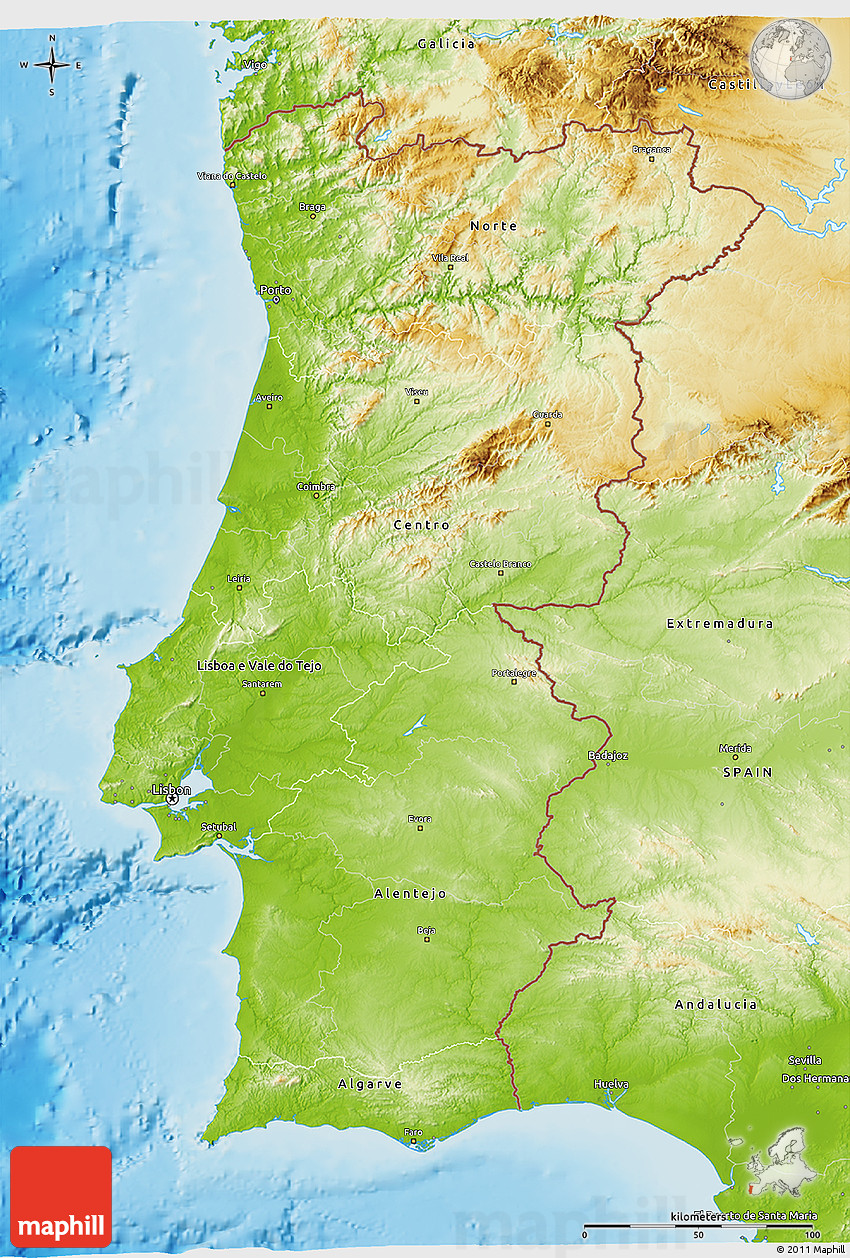 Physical D Map Of Portugal - Portugal map physical