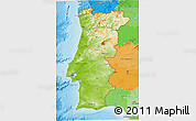 Physical 3D Map of Portugal, political outside, shaded relief sea