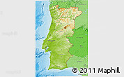 Physical 3D Map of Portugal, political shades outside, shaded relief sea