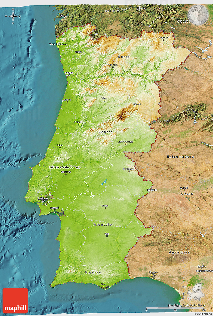 Physical D Map Of Portugal Satellite Outside - Portugal map satellite