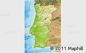 Physical 3D Map of Portugal, satellite outside, shaded relief sea