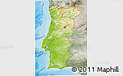 Physical 3D Map of Portugal, semi-desaturated, land only