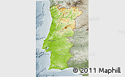 Physical 3D Map of Portugal, semi-desaturated