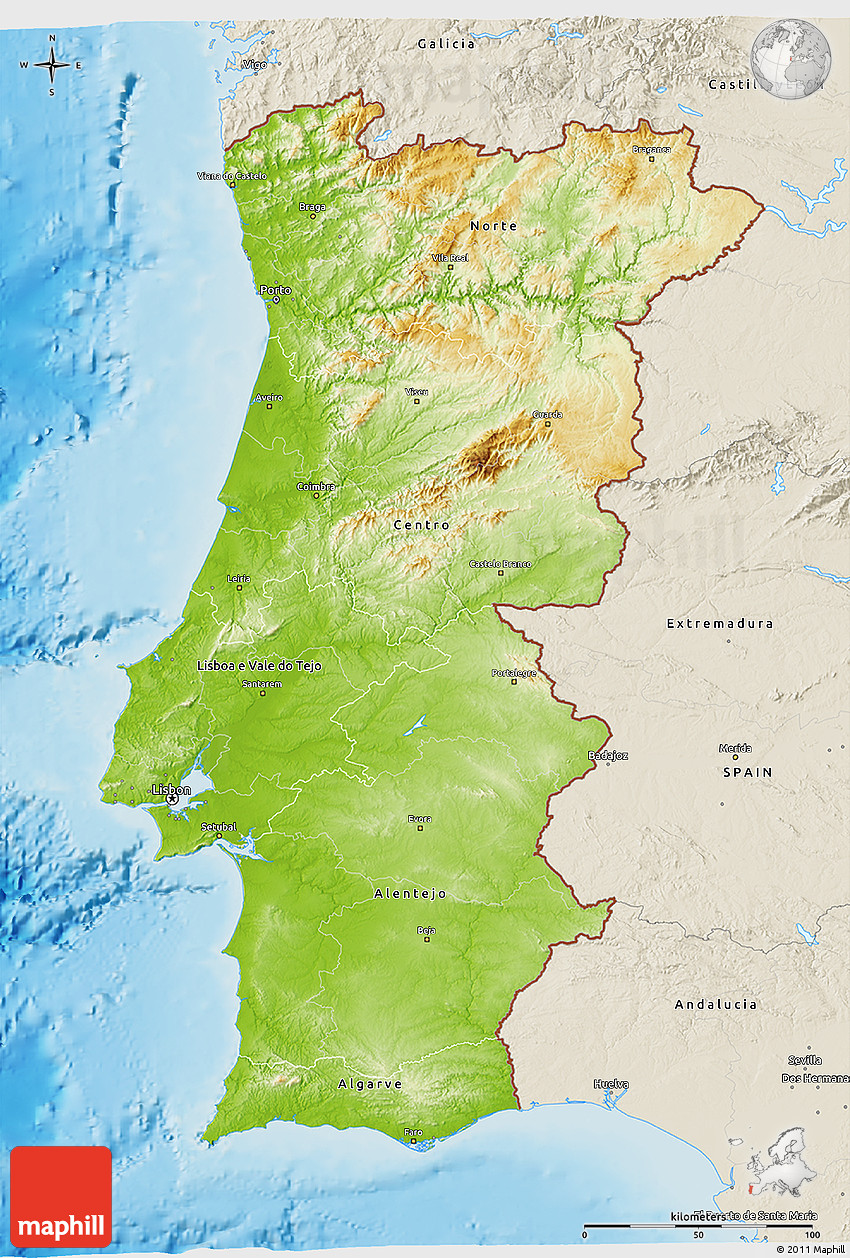 Physical D Map Of Portugal Shaded Relief Outside - Portugal map jpg