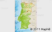 Physical 3D Map of Portugal, shaded relief outside