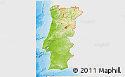 Physical 3D Map of Portugal, single color outside