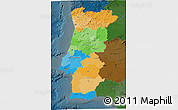Political 3D Map of Portugal, darken
