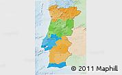 Political 3D Map of Portugal, lighten
