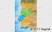 Political 3D Map of Portugal, satellite outside, bathymetry sea
