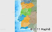 Political 3D Map of Portugal, semi-desaturated, land only
