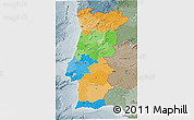 Political 3D Map of Portugal, semi-desaturated