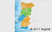 Political 3D Map of Portugal, single color outside