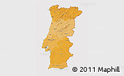 Political Shades 3D Map of Portugal, cropped outside