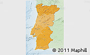 Political Shades 3D Map of Portugal, lighten