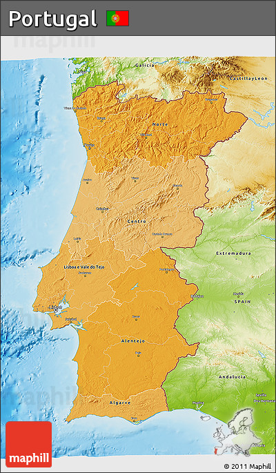 Free Political Shades D Map Of Portugal Physical Outside - Portugal map physical