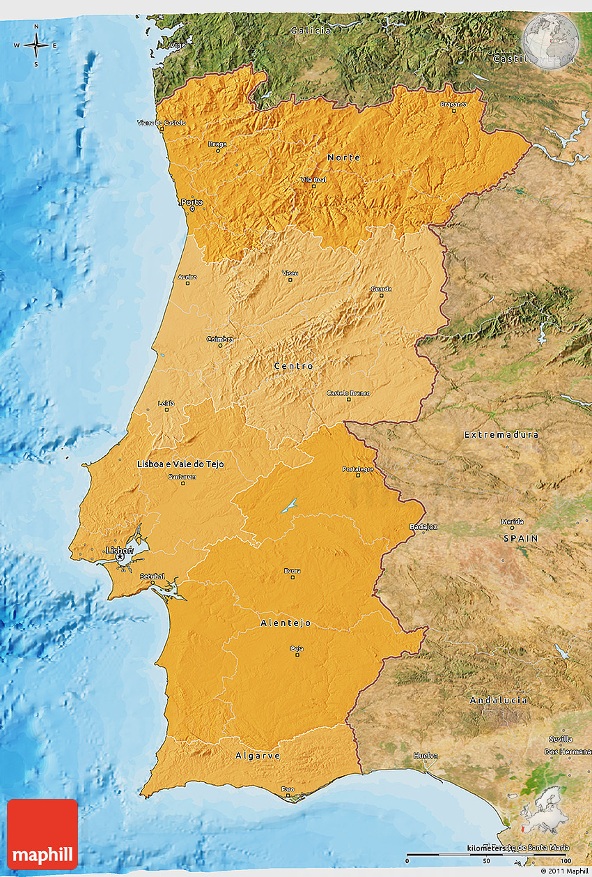 Political Shades D Map Of Portugal Satellite Outside Bathymetry Sea - Portugal map sea