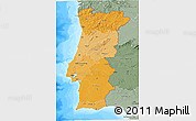 Political Shades 3D Map of Portugal, semi-desaturated, land only