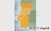 Political Shades 3D Map of Portugal, semi-desaturated