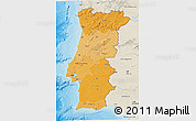 Political Shades 3D Map of Portugal, shaded relief outside, bathymetry sea
