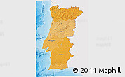 Political Shades 3D Map of Portugal, single color outside