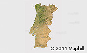 Satellite 3D Map of Portugal, cropped outside