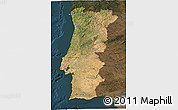 Satellite 3D Map of Portugal, darken