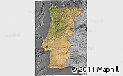 Satellite 3D Map of Portugal, desaturated