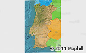 Satellite 3D Map of Portugal, political outside, satellite sea